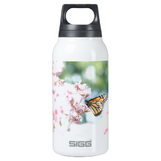 Summer Love :: Monarch Butterfly Pink Flowers Insulated Water Bottle