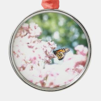 Summer Love :: Monarch Butterfly Pink Flowers Metal Ornament
