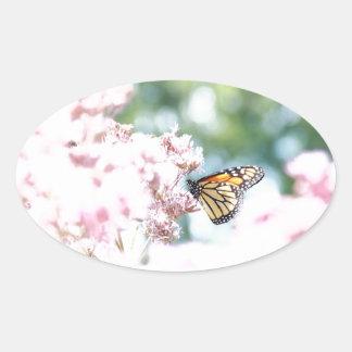 Summer Love :: Monarch Butterfly Pink Flowers Oval Sticker