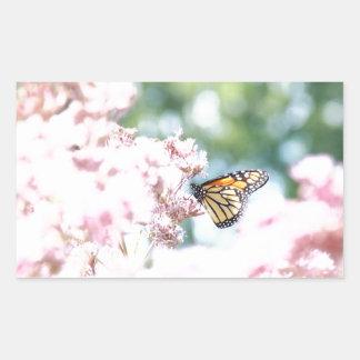 Summer Love :: Monarch Butterfly Pink Flowers Rectangular Sticker
