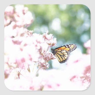 Summer Love :: Monarch Butterfly Pink Flowers Square Sticker