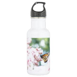 Summer Love :: Monarch Butterfly Pink Flowers Stainless Steel Water Bottle