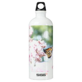 Summer Love :: Monarch Butterfly Pink Flowers Water Bottle