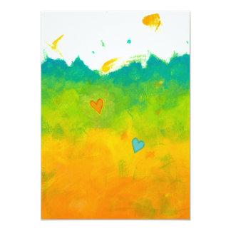 Summer Love unique whimsical modern art wedding Card