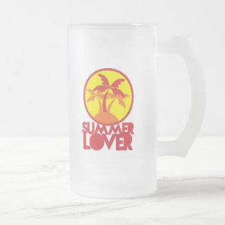 SUMMER LOVER with palm trees Frosted Glass Beer Mug