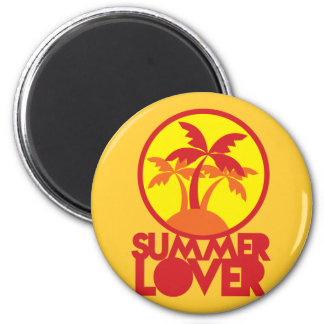 SUMMER LOVER with palm trees Magnet