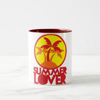 SUMMER LOVER with palm trees Two-Tone Coffee Mug