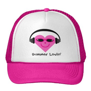 Beach Themed Summer Lovin' Heart With Headphones & Shades Trucker Hat