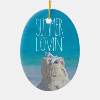 Summer Lovin' White Sandcastle Coral Turquoise Sea Ceramic Ornament