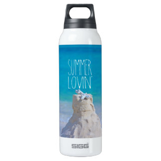 Summer Lovin' White Sandcastle Coral Turquoise Sea SIGG Thermo 0.5L Insulated Bottle
