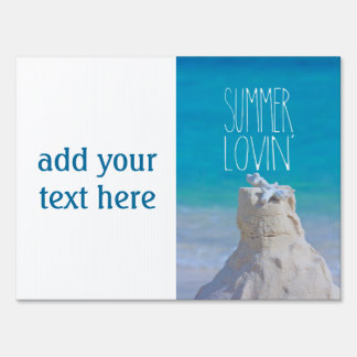 Summer Lovin' White Sandcastle Coral Turquoise Sea Yard Sign