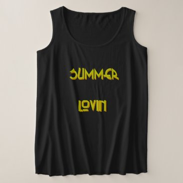 Beach Themed Summer Lovin' - Women's  Plus Black Tank Top