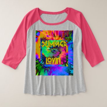 Beach Themed Summer Lovin' - Women's  Plus Raglan Tshirt