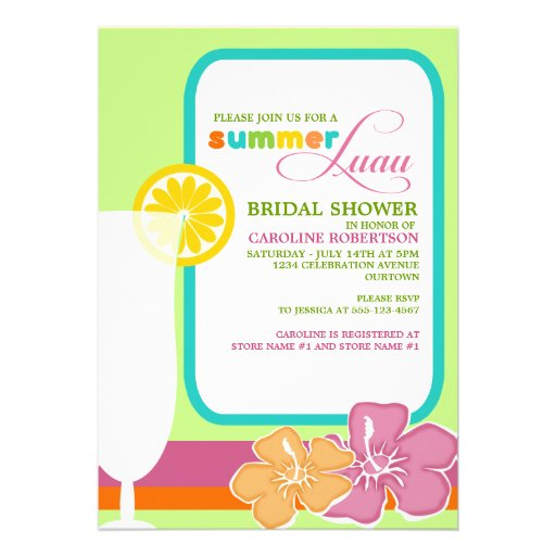 Summer Luau Bridal Shower Invitations from Zazzle.com