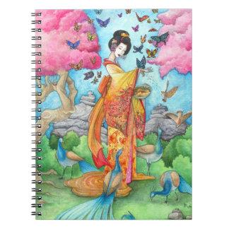 Summer Maiko, Butterfly Geisha Art Custom Notebook