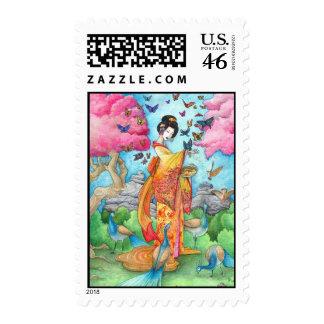 Summer Maiko, Ukiyoe Geisha Japanese Fine Art Stamp