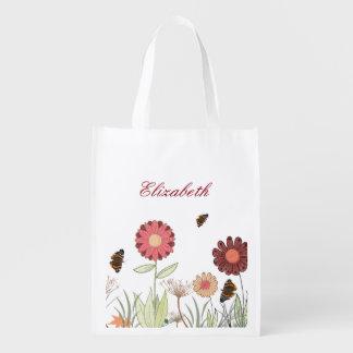 Summer meadow grocery bag