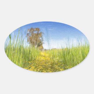 Summer Meadow Oval Sticker