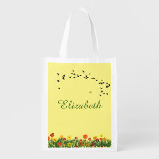 Summer meadow with a flock of flying swallows grocery bag