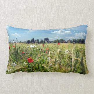 Summer Meadows Red Poppy Flowers Garden of England Lumbar Pillow