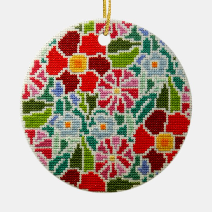 Summer memories hand embroidered round ornament