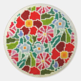 Summer memories hand embroidered round ornament classic round sticker