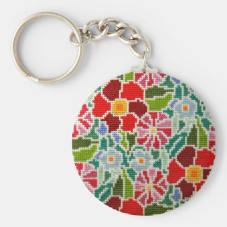 Summer memories hand embroidered round ornament key chains