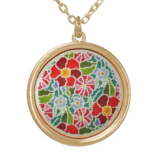 Summer memories hand embroidered round ornament custom necklace