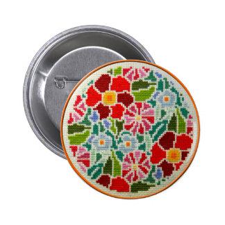 Summer memories hand embroidered round ornament pinback button