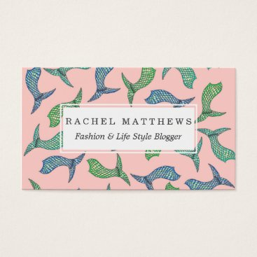Beach Themed Summer Mermaid Tail Illustrations in Teal Blue Business Card