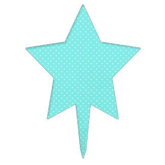 Summer Mint Green Polka Dot Hearts on Aqua Blue Cake Topper