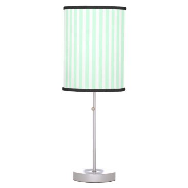 Beach Themed Summer Mint Pale Green Mint & White Stripe Desk Lamp