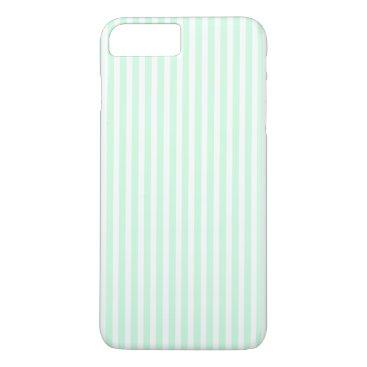 Beach Themed Summer Mint Pale Green Mint & White Stripe iPhone 7 Plus Case