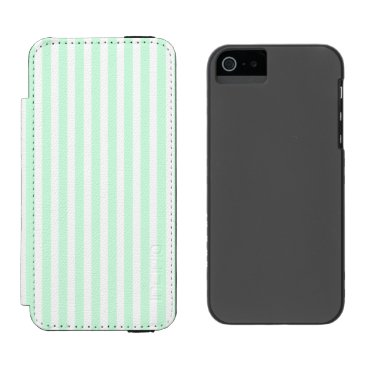 Beach Themed Summer Mint Pale Green Mint & White Stripe iPhone SE/5/5s Wallet Case