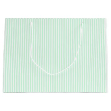 Beach Themed Summer Mint Pale Green Mint & White Stripe Large Gift Bag