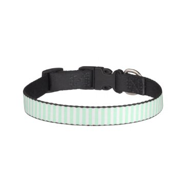honor_and_obey Summer Mint Pale Green Mint & White Stripe Pet Collar
