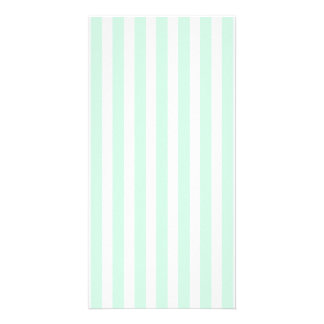 Summer Mint Pale Green Mint & White Stripe Photo Card