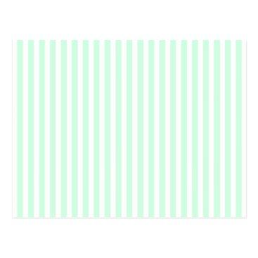Beach Themed Summer Mint Pale Green Mint & White Stripe Postcard