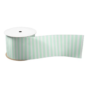 Beach Themed Summer Mint Pale Green Mint & White Stripe Satin Ribbon