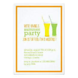 Summer Mocktails and Juices Party Invitation