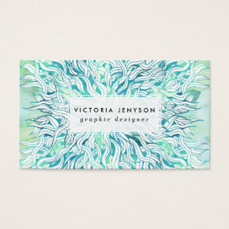 Summer modern blue turquoise watercolor seaweed business card