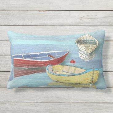 Beach Themed Summer Morning Boats at Rest Lumbar Pillow