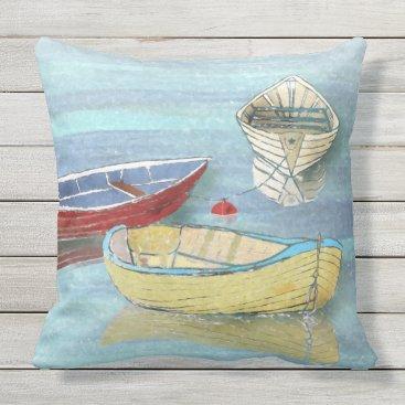Beach Themed Summer Morning Boats at Rest Pillow