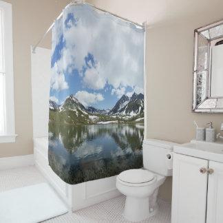 summer mountain landscape lake cloud blue sky shower curtain