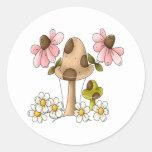 Summer Mushrooms Round Sticker