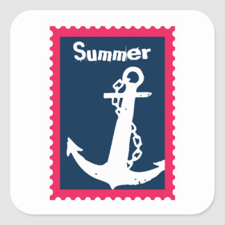 Summer Nautical Ships Anchor Square Sticker