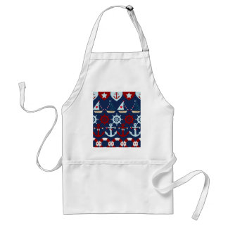 Summer Nautical Theme Anchors Sail Boats Helms Adult Apron