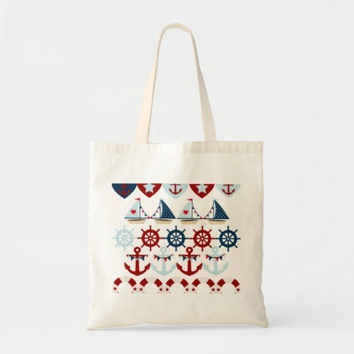 Summer Nautical Theme Anchors Sail Boats Helms Budget Tote Bag