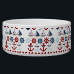 """Summer Nautical Theme Anchors Sail Boats Helms Bowl<br><div class=""""desc"""">Summer Nautical Theme Anchors Sail Boats Helms Hearts. Here&#39;s a fun summer nautical sailing design with sail boats, ship&#39;s helms, anchors, life preservers, and hearts with stars and anchors in them. Traditional nautical colors of red, white, and blue. &quot;nautical&quot; &quot;sailing&quot; &quot;sailor&quot; &quot;summer&quot; &quot;sail boats&quot; &quot;anchors&quot; &quot;anchor&quot; &quot;life preservers&quot; &quot;ships wheel&quot;...</div>"""