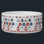 "Summer Nautical Theme Anchors Sail Boats Helms Bowl<br><div class=""desc"">Summer Nautical Theme Anchors Sail Boats Helms Hearts. Here&#39;s a fun summer nautical sailing design with sail boats, ship&#39;s helms, anchors, life preservers, and hearts with stars and anchors in them. Traditional nautical colors of red, white, and blue. &quot;nautical&quot; &quot;sailing&quot; &quot;sailor&quot; &quot;summer&quot; &quot;sail boats&quot; &quot;anchors&quot; &quot;anchor&quot; &quot;life preservers&quot; &quot;ships wheel&quot;...</div>"